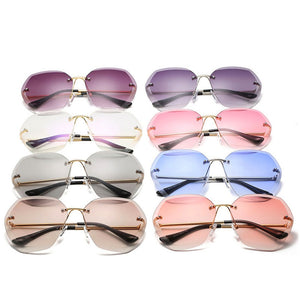 2020 Oversized Rimless Sunglasses Women Square Metal Frame Clear Lens Sun Glasses Vintage Brand Designer Sunglass Ladies Shades