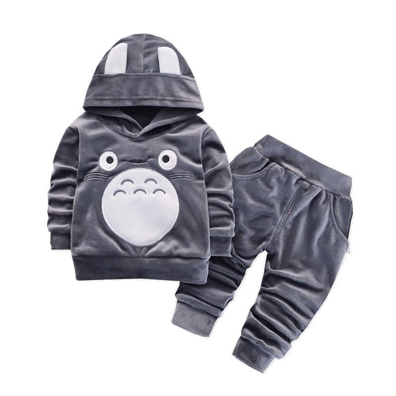 Fashion Children Boys Girl Cartoon Clothing Suits Baby Velvet Hoodies Pants 2Pcs/Sets Spring Autumn Clothes Toddler Tracksuits