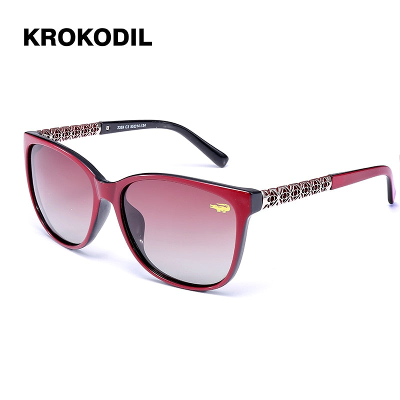 Krokodil New Fashion Cat Eye polaroid Sunglasses Women White Frame Gradient  Sun Glasses Driving UV400 Fashion Eyewear Box 2359