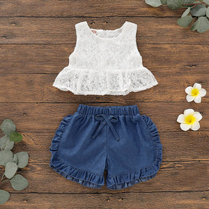 Emmababy Summer Newest Newborn Baby Girl Clothes Sleeveless Lace Flower Tops Ruffle Denim Shorts 2Pcs Outfits Summer Clothes