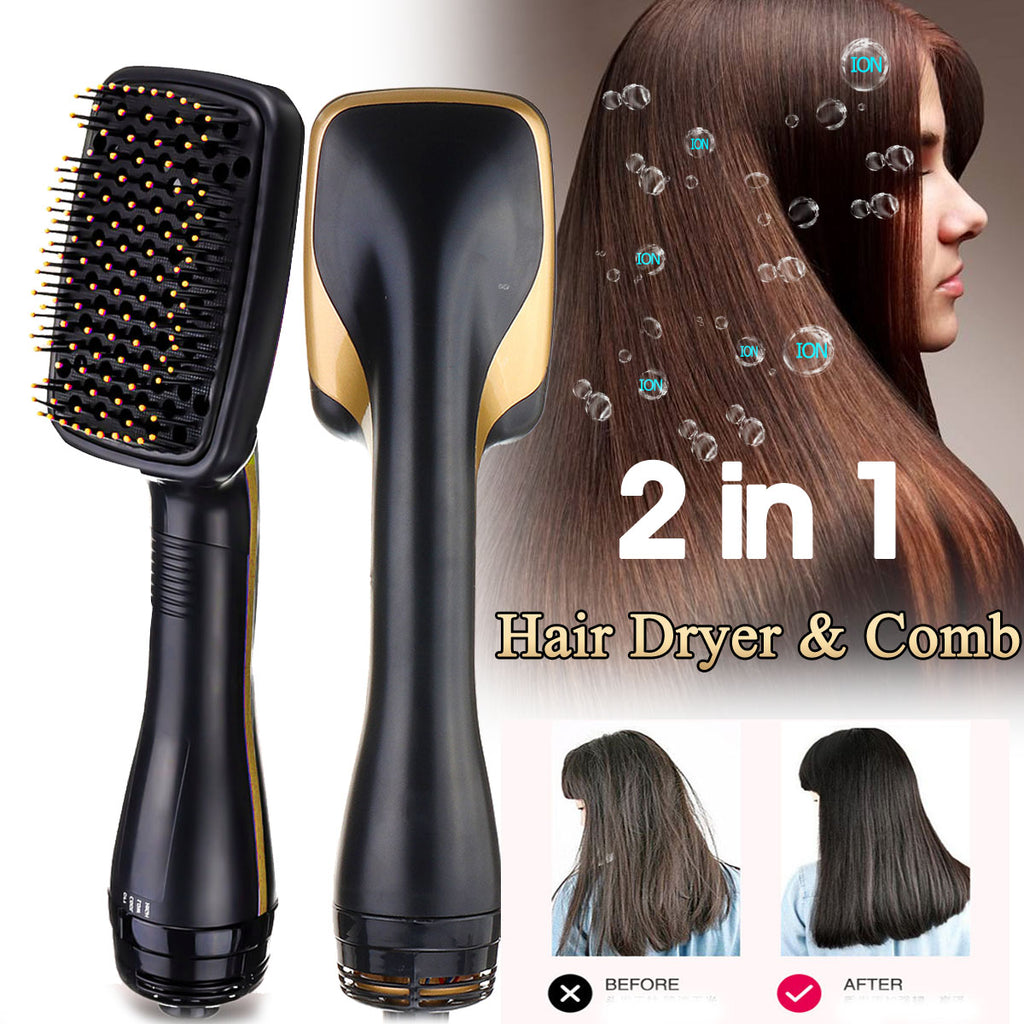 2 IN 1 Multi-functional Hair Blow Dryer Brush Hair Straightener Styles Electric Hair Comb Negative Ion Care Salon Hair Styler