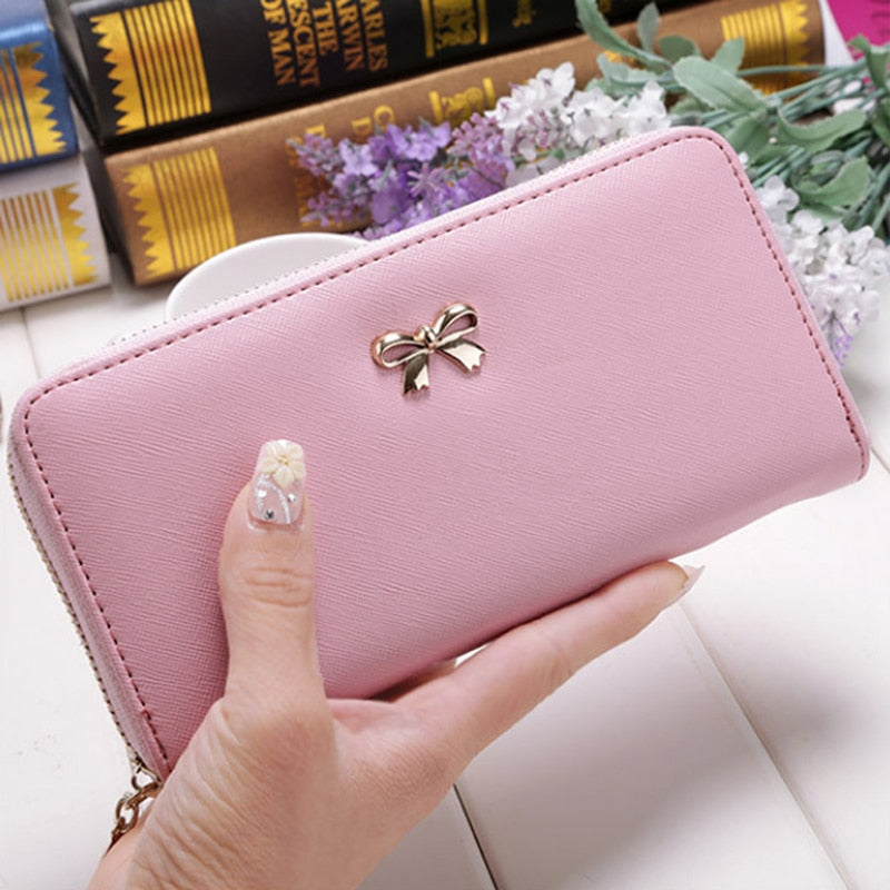 Cards Holder Wallet Ladies Cute Bowknot Women Long Wallet Pure Color Clutch Bag 2019 New PU Leather Purse Phone Card Holder Bag