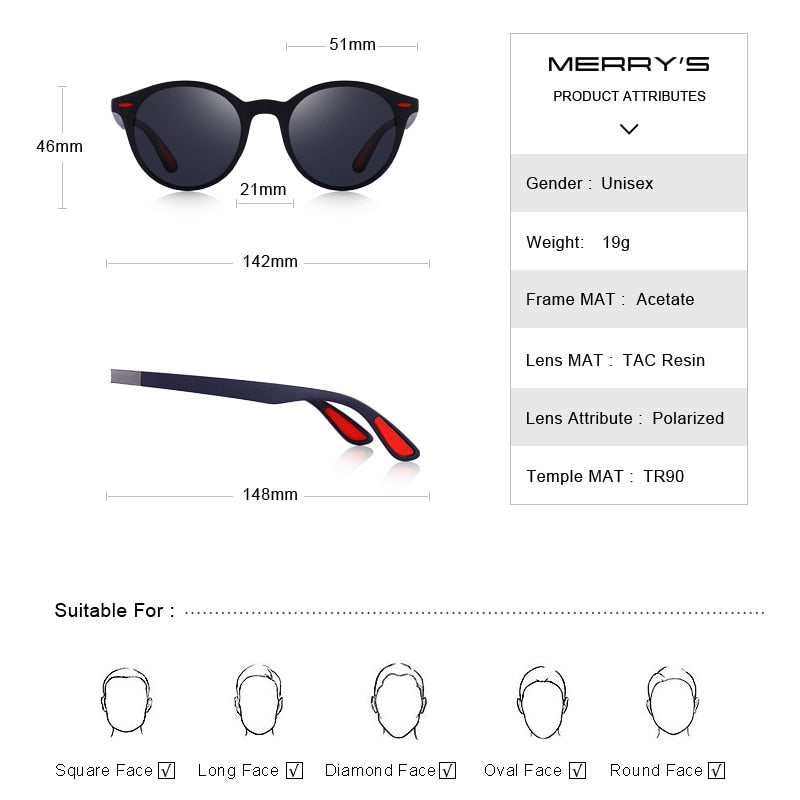 MERRYS DESIGN Men Women Classic Retro Rivet Polarized Sunglasses TR90 Legs Lighter Design Oval Frame UV400 Protection S8126