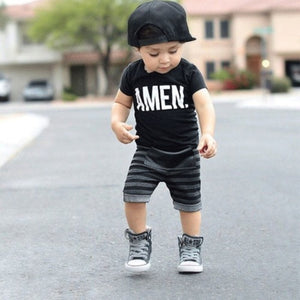 Toddler Baby Kids Boys Summer Clothes Tops T-shirt Pants