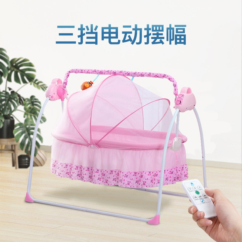 Electric crib foldable out portable baby cradle automatic shaker newborn simple cribs