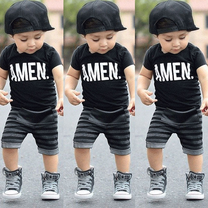 Toddler Baby Kids Boys Summer Clothes Tops T-shirt Pants Outfits Set Size 2T-6T Free shipping