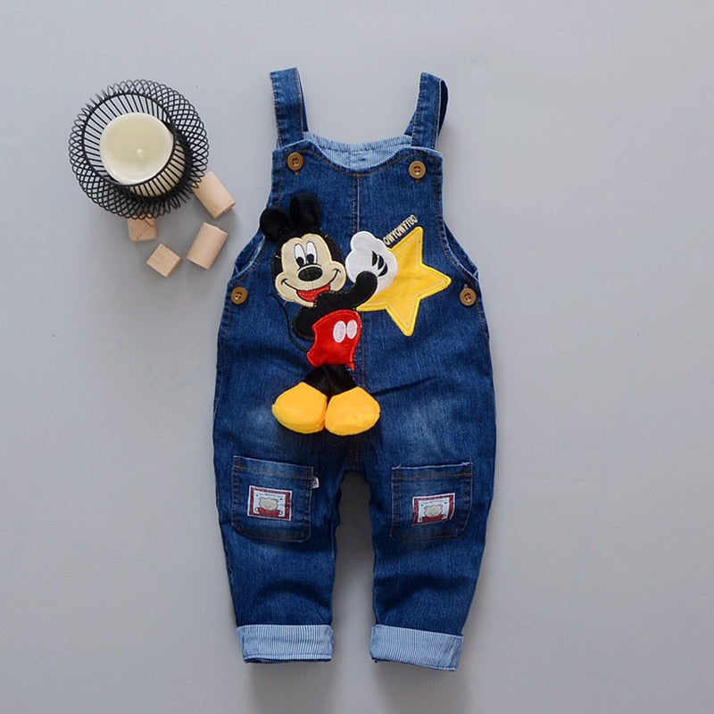 Cartoon Baby Boy Clothes Denim Pants Elastic Waist Casual Printed Toddler Pants Girls Trousers Children's Jeans for 1-4T Unisex