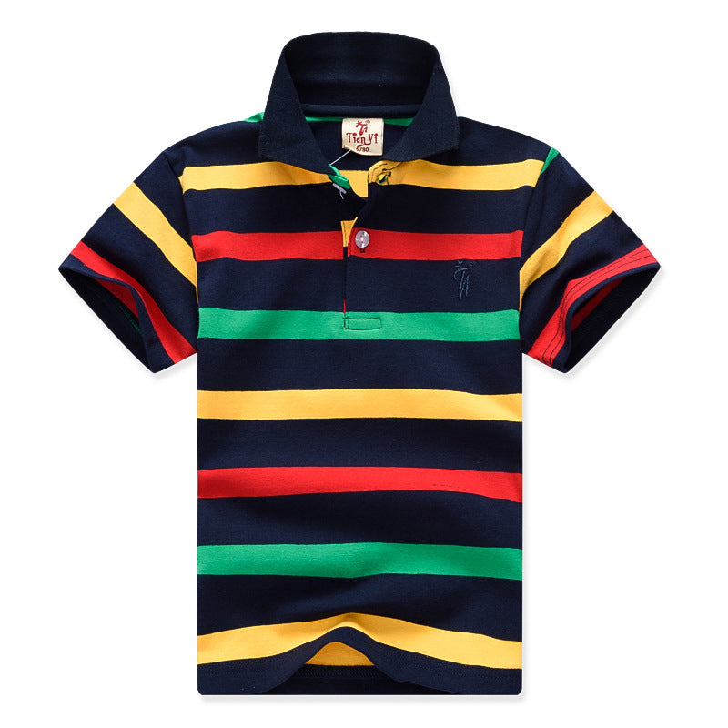 Big Boy T-shirt 2019 New Fashion Boys T shirts for Kids Summer Children Clothes Color Stripe Cotton Short Sleeve Boys T shirt