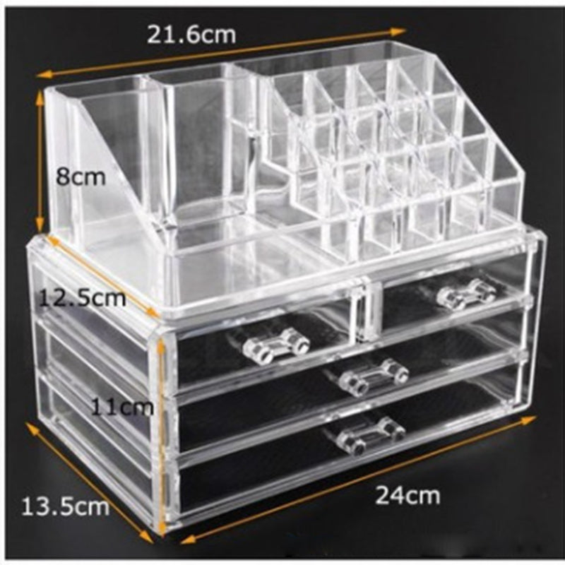 Acrylic transparent Makeup Organizer Storage Boxes Make Cosmetics Brush Organizer home  Drawers Cotton Swabs Stick Storage case