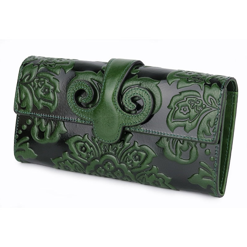 COMFORSKIN Premium Genuine Oil Waxing Leather Unique Embossed Floral Woman Purse Famous Brand Long Cover Style Women's Wallets