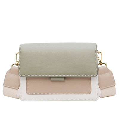 Contrast color Leather Crossbody Bags For Women