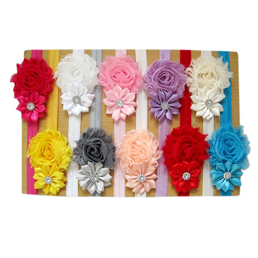 5pcs/10pcs Lovely Hair Band Baby Girl's Headbands Chiffon Hair Flower Item Type Head newborn photography accessories  HOOLER