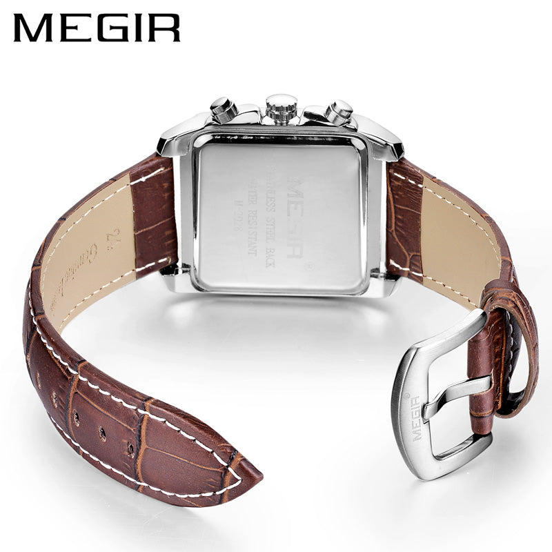 MEGIR Original Watch Men Top Brand Luxury Rectangle Quartz Military Watches Waterproof Luminous Leather Wristwatch Men Clock