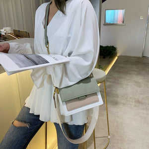 Contrast color Leather Crossbody Bags For Women 2020 Travel Handbag Fashion Simple Shoulder Messenger Bag Ladies Cross Body Bag