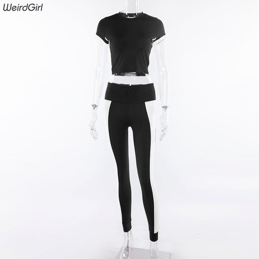 Weirdgirl Women Basic Elastic Slim Fitness wear two pieces sets new popular Patchwork black white tops T-shirt Sports leggings