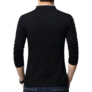BROWON Brand Autumn Casual Mens T Shirts Fashion 2020 Sold Color Mandarin Collar Long Sleeve T-Shirt Luxury Plus Size M-5XL