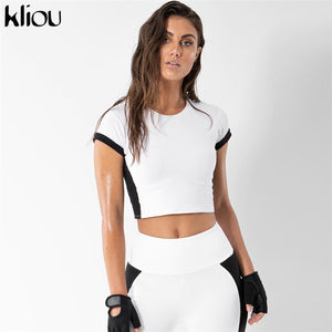 Women Basic Elastic Slim Fitness wear two pieces sets