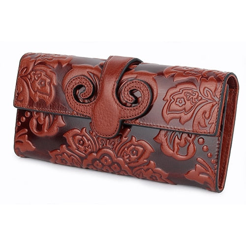COMFORSKIN Premium Genuine Oil Waxing Leather Unique Embossed Floral Woman Purse