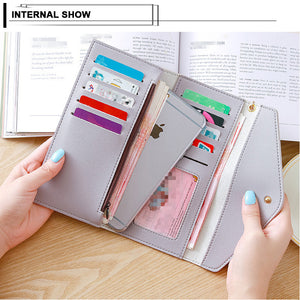 2020 Fashion Women's Wallets Simple Zipper Purses Envelop Long Wallet Women Long Section Clutch Wallet Soft PU Leather Money Bag