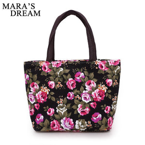 Mara's Dream Women Handbags Canvas Ladies Casual Tote Bag Floral Printing Female Daily Use Girls Shopping Hand Bags Storage Bag