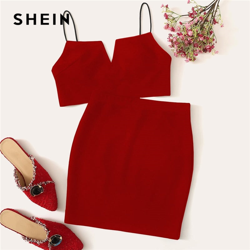 SHEIN V-Cut Crop Cami Top And Skirt Set Sexy Solid Notched Spaghetti Strap Summer Sleeveless Women Two Piece Sets