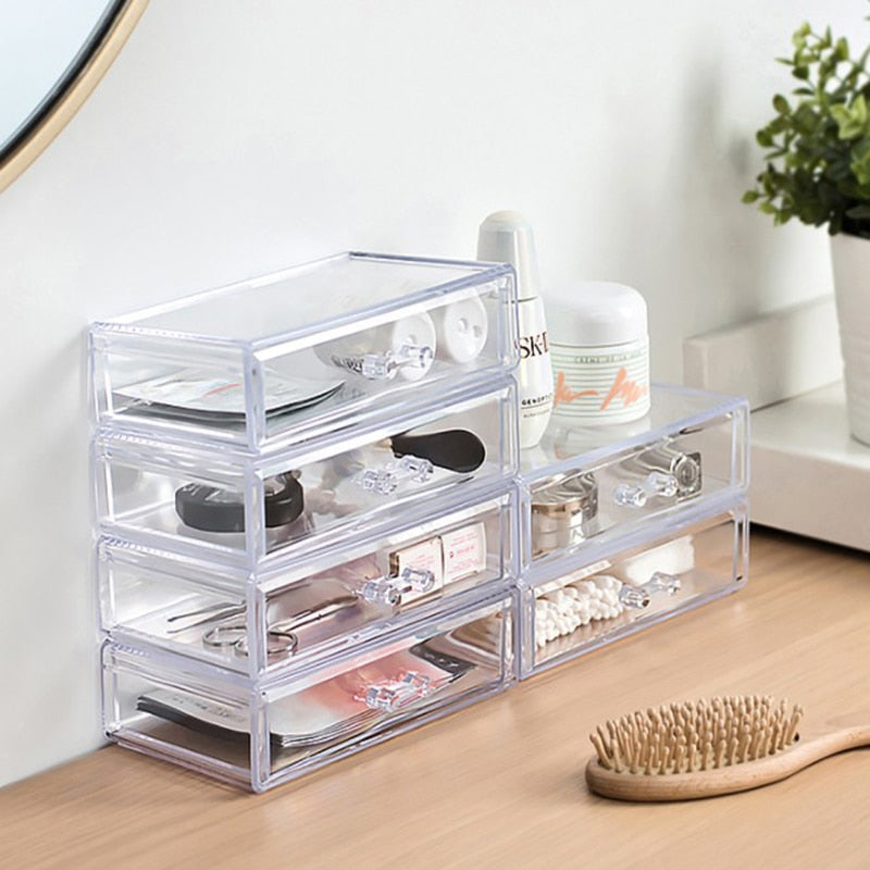 Acrylic Makeup Organizer Jewelry Storage Box Cosmetics Jewelry Display Plastic Box Transparent Drawer Powder Storage Lipstick