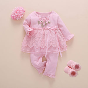 Newborn Baby Girl Clothes Fall Cotton Lace Princess Style Baby Jumpsuit 0-3 Months Infant Romper With Socks Headband ropa bebe