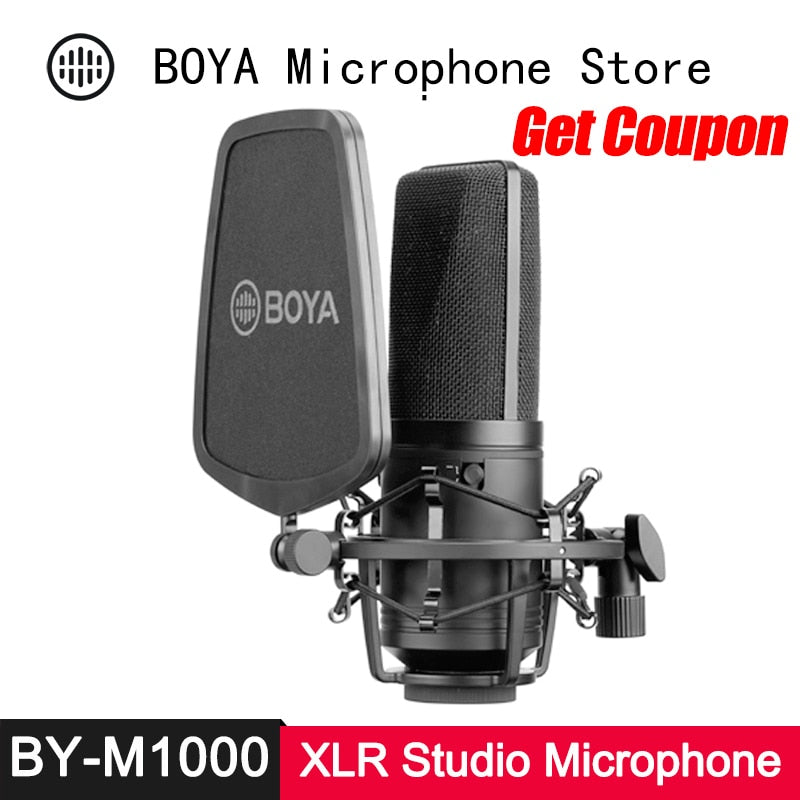 BOYA BY-M1000 Condenser Microphone Large Diaphragm 3 Polar Patterns for Singer Podcaster Voiceover Studio Mic Facebook Vlog