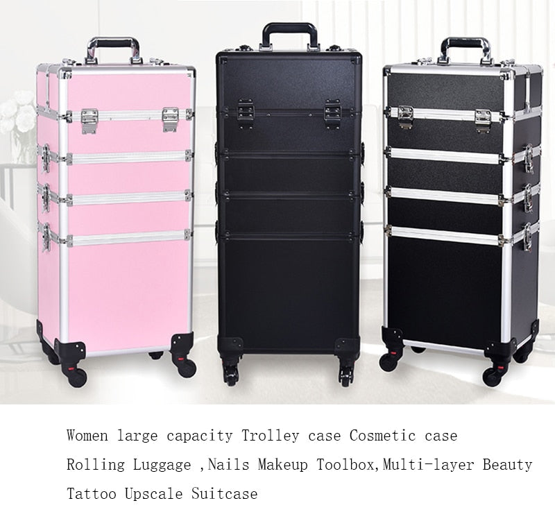 Women large capacity Trolley case Cosmetic case Rolling Luggage ,Nails Makeup Toolbox,Multi-layer Beauty Tattoo Upscale Suitcase