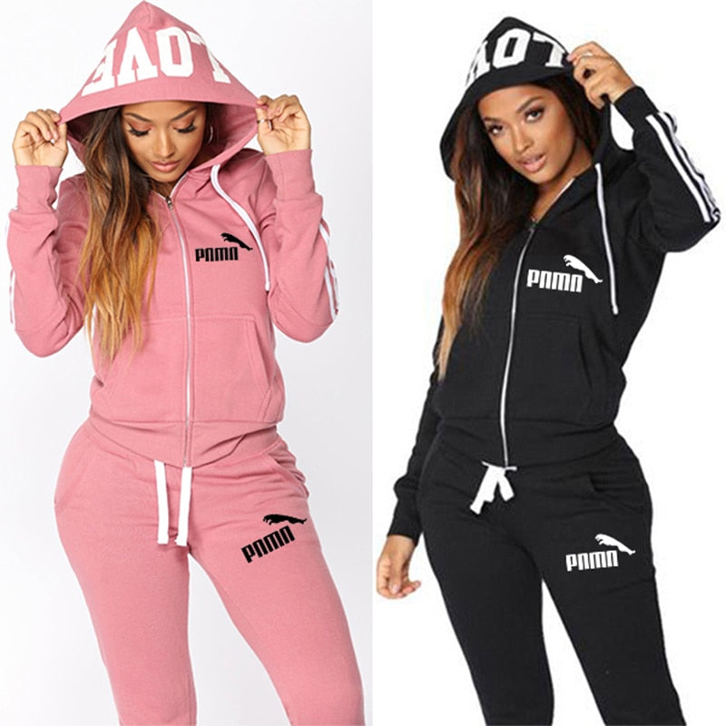 2020 Women Tracksuit 2 Piece Set Hooded Pants Suits Solid Casual Female Clothes With Pockets Zipper Conjunto Feminino Plus Size
