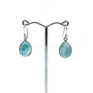 "Earrings - ""Larimar"" Cabachon Teardrop #E20"