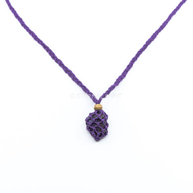 MACRAME CRYSTAL POUCH - PURPLE