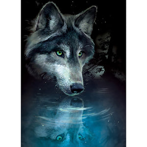 "Greeting Card - Tree Free ""Wolf Reflection"""