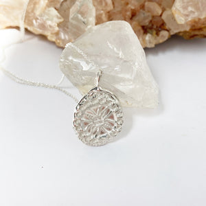 Stamped mandala necklace- READY TO SHIP