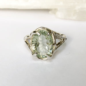 Green amethyst queen ring- READY TO SHIP