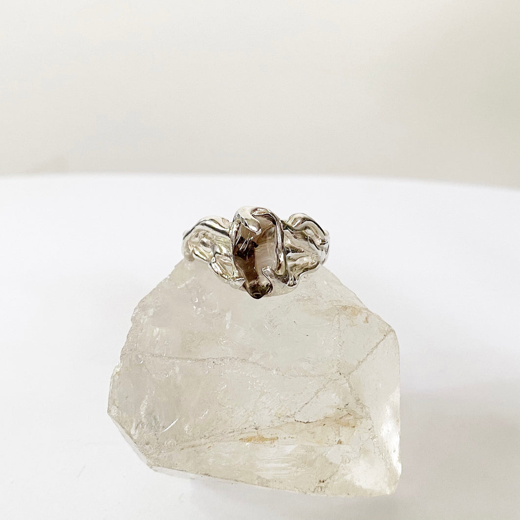 Smokey quartz wave ring- READY TO SHIP