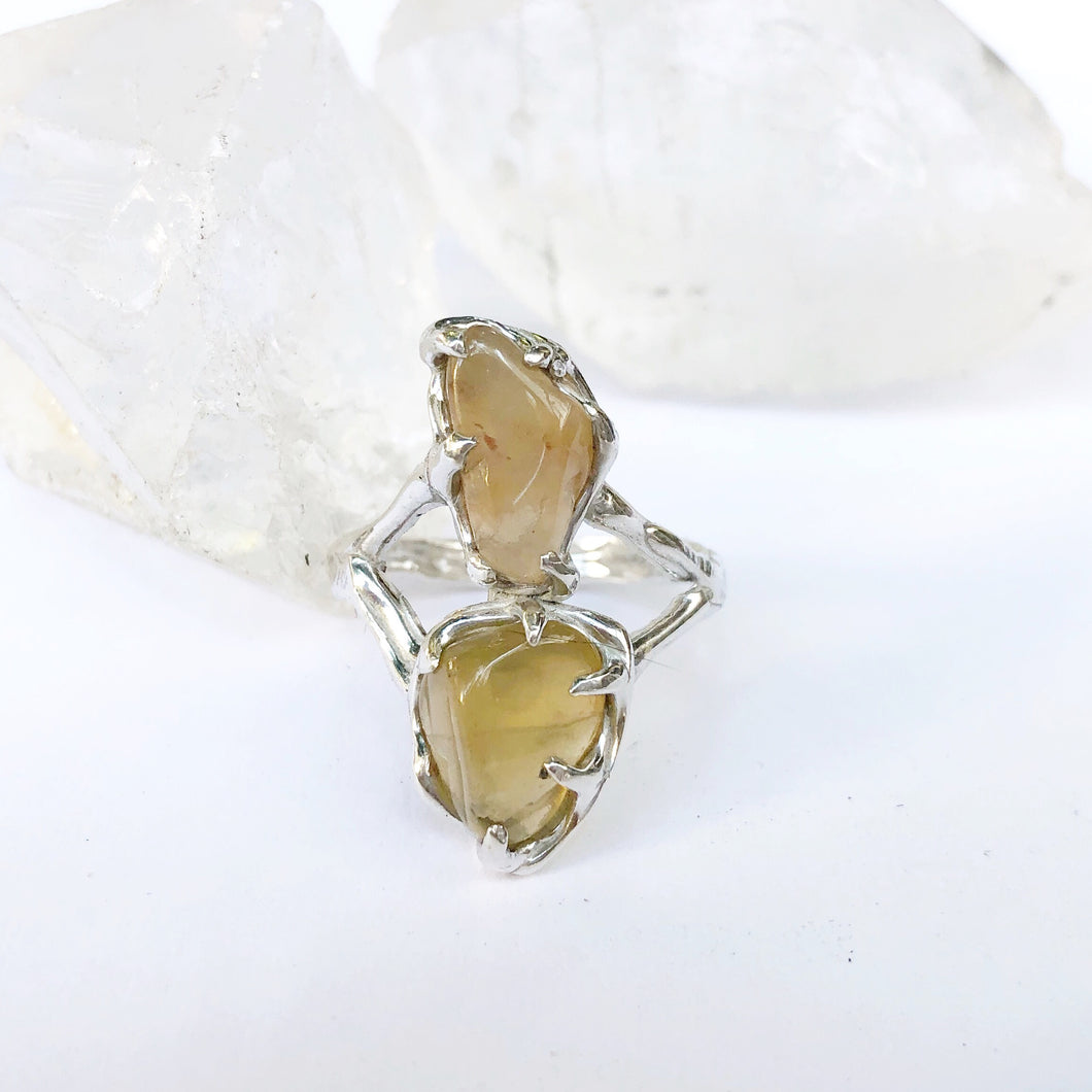 Double crystal goddess ring- READY TO SHIP