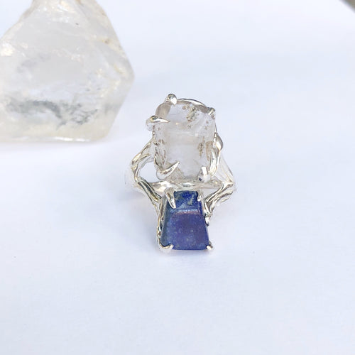 Double crystal galaxy ring- READY TO SHIP