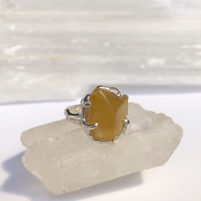 Honey stone ring- READY TO SHIP