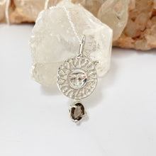 Load image into Gallery viewer, Stamped sun with smokey quartz- READY TO SHIP