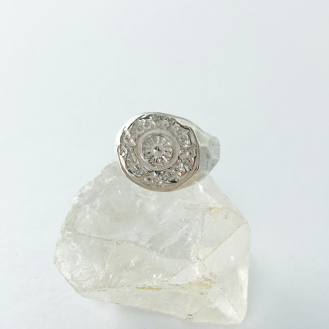 Stamped mandala maze ring- READY TO SHIP