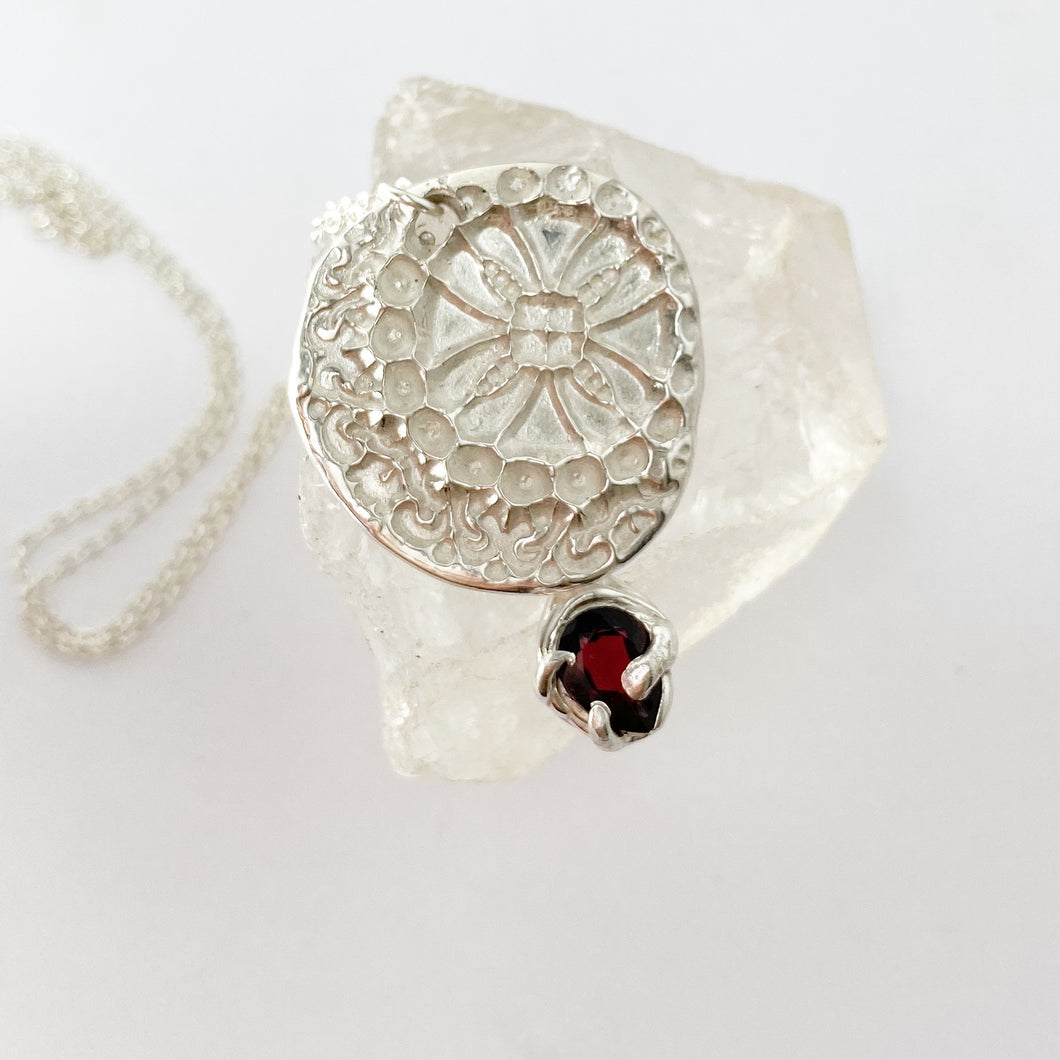 Stamped mandala flower necklace with garnet- READY TO SHIP