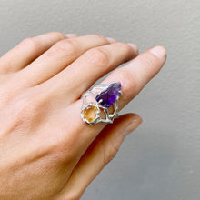 Load image into Gallery viewer, Double crystal ring amethyst and citrine- READY TO SHIP