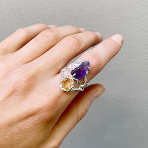 Double crystal ring amethyst and citrine- READY TO SHIP