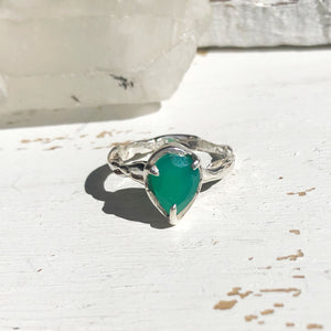 Green onyx tear ring- READY TO SHIP