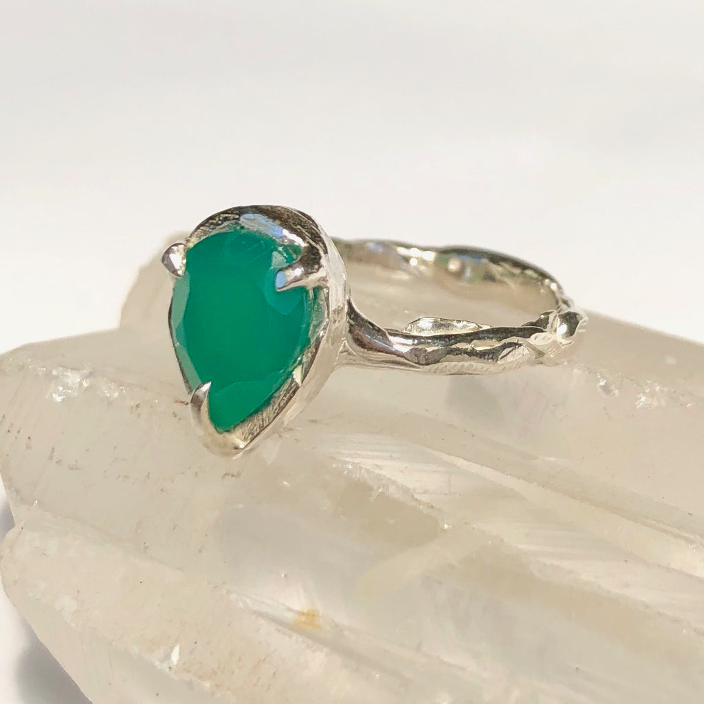 Green onyx tear ring