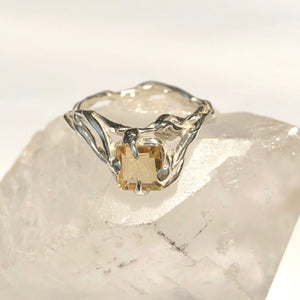 Citrine lace ring