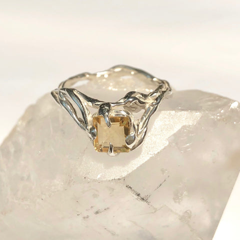 Citrine lace ring- READY TO SHIP