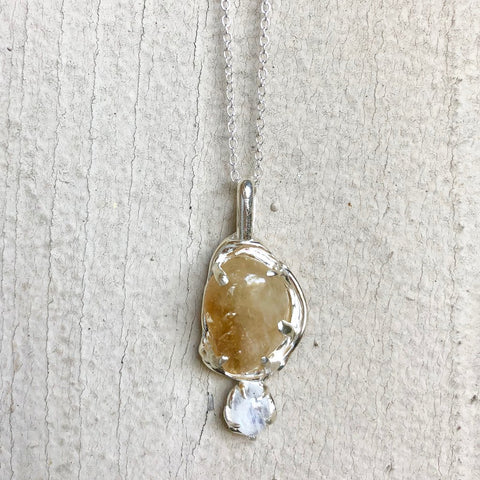 Double crystal necklace- citrine and moonstone