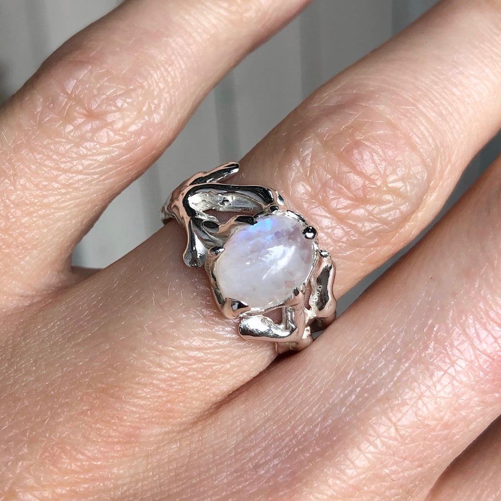 Gothic moonstone ring- READY TO SHIP